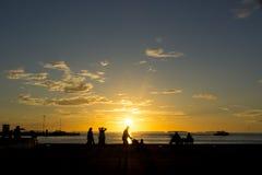 Заход солнца пристани Key West Стоковые Фото
