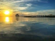Заход солнца пристани Outerbanks Стоковые Изображения RF