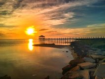 Заход солнца пристани Outerbanks Стоковая Фотография