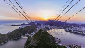 Заход солнца промежутка времени городского пейзажа Рио сток-видео