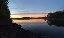 Заход солнца пруда Стоковое Фото