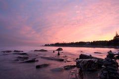 Заход солнца пункта Pemaquid Стоковые Изображения RF