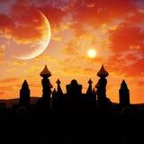 Заход солнца пустыни дворца сказки иллюстрация штока