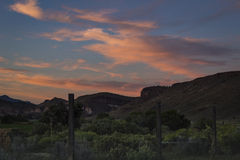 Заход солнца пустыни гор пейзажа Невады Стоковое Фото