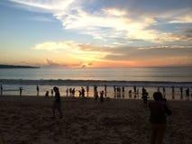 Заход солнца пляжа Бали Стоковое Изображение RF