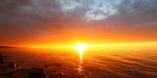 Заход солнца пляжа каникул Мичигана Стоковые Изображения RF