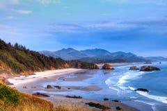 Заход солнца пляжа карамболя Стоковые Фотографии RF