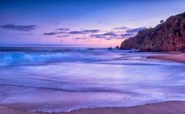 Заход солнца пляжа Калифорнии Стоковое Изображение