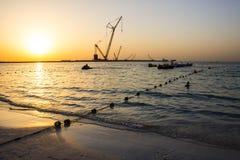 Заход солнца пляжа Марины Дубай Стоковая Фотография RF