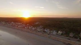 Заход солнца пляжа Мейна воздушный Йорка видеоматериал