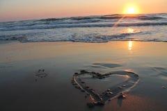 Заход солнца пляжа океана Стоковые Фотографии RF