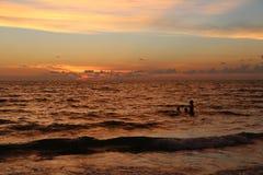 Заход солнца пляжа острова Estero Стоковая Фотография