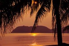 заход солнца пляжа тропический против предпосылки голубые облака field wispy неба природы зеленого цвета травы белое Стоковая Фотография RF