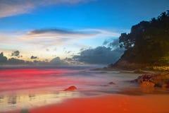 заход солнца пляжа тропический Стоковое Изображение RF