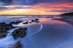 Заход солнца пляжа Флориды Стоковая Фотография