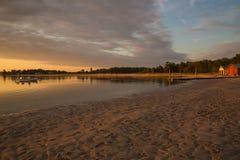 Заход солнца пляжа шеи Prouts в Scarborough, Мейне Стоковые Фото