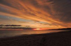 Заход солнца 010 пляжа Стоковое Изображение RF