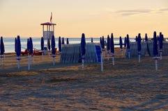 Заход солнца пляжа Grado стоковые фотографии rf
