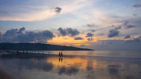 Заход солнца пляжа Jimbaran стоковые изображения rf