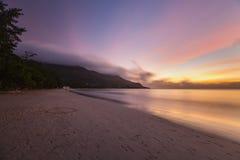 Заход солнца пляжа, Mahe, Сейшельские островы Стоковые Фото