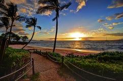 Заход солнца пляжа Makena Стоковое фото RF