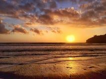 Заход солнца пляжа Muir стоковое фото rf