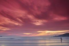 Заход солнца пляжа Patong Стоковые Изображения RF
