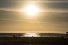 Заход солнца пляжа Pismo Стоковые Изображения