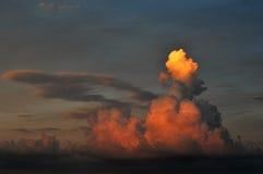 Заход солнца драматического облака отражая Стоковая Фотография RF