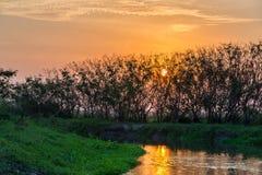 Заход солнца реки Стоковое Изображение RF