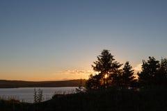 Заход солнца реки Стоковое фото RF