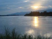 заход солнца реки mae khong Стоковое Фото