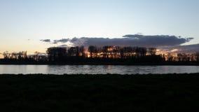 Заход солнца реки Rhein Стоковое Изображение RF