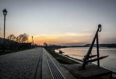 Заход солнца речного берега Стоковое Изображение