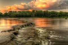 Заход солнца речных порогов реки Стоковое фото RF