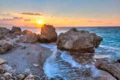 Заход солнца Родоса Греции Стоковая Фотография