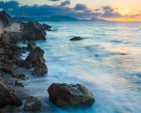 Заход солнца Родоса Греции Стоковая Фотография RF