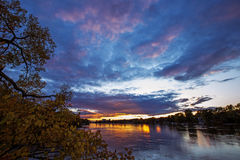 заход солнца Румынии пущи осени Стоковые Фотографии RF