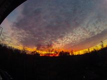 заход солнца Румынии пущи осени Стоковое фото RF
