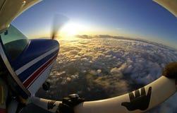 Заход солнца самолета Skydiving Стоковое Изображение