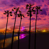 Заход солнца Санта-Моника Калифорнии на колесе Ferrys пристани Стоковое фото RF