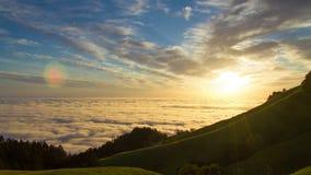 Заход солнца Сан-Франциско увиденный от Mt Tamalpais акции видеоматериалы