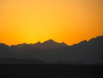 Заход солнца Сахары Стоковые Фото