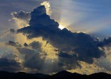 Заход солнца света неба Стоковое фото RF