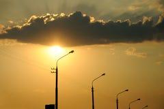 Заход солнца свет за облаком Стоковая Фотография RF