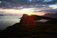 Заход солнца северная Норвегия Elgen Стоковое фото RF
