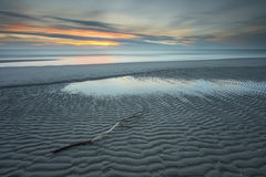 Заход солнца Северного моря в долгой выдержке Стоковая Фотография