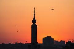 заход солнца силуэта istanbul Стоковые Изображения RF