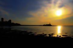 Заход солнца & силуэт Стоковое Изображение RF