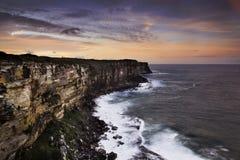 Заход солнца скалы головы n моря Стоковое Изображение RF